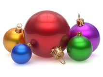Christmas ball adornment decoration multicolored baubles. Christmas ball adornment decoration multicolored New Year`s Eve colorful shiny wintertime hanging Royalty Free Stock Images