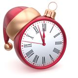 Christmas ball alarm clock New Years Eve decoration souvenir. Christmas ball alarm clock New Years Eve decoration Santa hat bauble ornament red white royalty free illustration