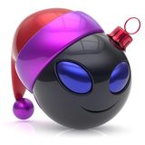 Christmas ball alien face New Year`s Eve bauble smiley cartoon. Cute emoticon decoration black. Happy Merry Xmas cheerful fun smile Santa hat person character Royalty Free Stock Image