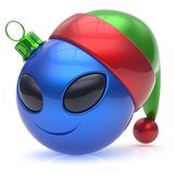Christmas ball alien face New Years Eve bauble smiley emoticon. Christmas ball alien face New Year`s Eve bauble smiley cartoon cute emoticon decoration blue vector illustration