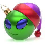 Christmas ball alien face New Years Eve bauble smiley emoticon. Christmas ball alien face New Year`s Eve bauble smiley cartoon cute emoticon decoration green vector illustration