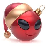 Christmas ball alien face New Years Eve bauble smiley emoticon. Christmas ball alien face New Year`s Eve bauble smiley cartoon cute emoticon decoration red stock illustration