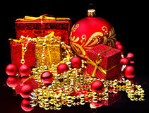 Christmas Ball And Gift Box. Royalty Free Stock Photo