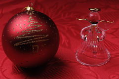 Christmas ball and angel Stock Image