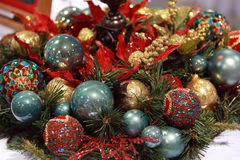 Christmas ball arrangement. A colorful arrangement of Christmas balls or baubles in a holiday decoration Stock Images