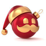 Christmas ball avatar New Year bauble Santa Claus hat. Ornament red gold decoration happy emoticon icon. Seasonal wintertime Merry Xmas mustache toy souvenir vector illustration