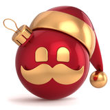 Christmas ball avatar Santa Claus hat ornament. New Year bauble red gold decoration happy emoticon icon. Seasonal wintertime Merry Xmas mustache toy souvenir Royalty Free Stock Images