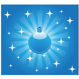 Christmas ball background. Blue shiny christmas ball with stars and background Royalty Free Stock Images