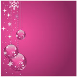 Christmas ball background. Pink shiny christmas ball with stars and background Royalty Free Stock Photo