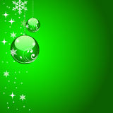 Christmas ball background. Green shiny christmas ball with stars and background Stock Images