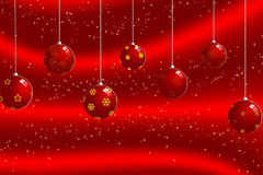 Christmas ball background. Christmas balls on a red background with star shapes vector illustration
