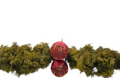 Christmas ball background. With mirror effect  on white Royalty Free Stock Image