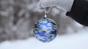 Christmas ball at the background of blurred stock video footage