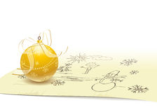 Christmas ball on background of drawing. Gold Christmas ball with a transparent bow and ribbon on background of children's Christmas drawing. Files included EPS Royalty Free Stock Image