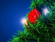 Christmas ball background. Photograph of Christmas tree on blue background Royalty Free Stock Images