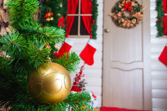 Christmas ball on the background scenery Stock Photo