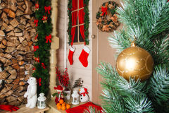 Christmas ball on the background scenery Stock Photos