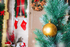 Christmas ball on the background scenery Royalty Free Stock Photos