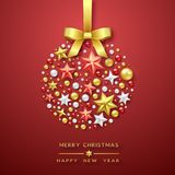 Christmas ball background with Shining stars, bow and colorful balls. Merry Christmas card illustration on red. Christmas ball background with Shining stars, bow Royalty Free Stock Images
