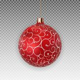 Christmas Ball with Ball and Ribbon on Transparent Background Vector Illustration Stock Photo