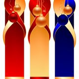 Christmas ball banners. Christmas ball on three type of banners Royalty Free Stock Photography