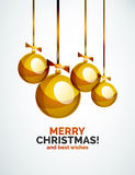 Christmas ball, bauble, New Year Concept. Greeting card or Invitation Template Royalty Free Stock Images