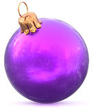 Christmas ball bauble New Year`s Eve blue purple decoration Stock Images