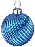 Christmas ball bauble New Years Eve decoration blue. Cyan wintertime ornament icon traditional. Shiny Merry Xmas winter holidays symbol modern. 3d render on stock illustration