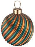 Christmas ball bauble New Years Eve decoration gold green. Christmas ball bauble New Years Eve decoration gold orange green sphere icon. Beautiful shiny Merry Stock Image