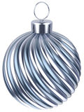 Christmas ball bauble New Years Eve decoration silver. Chrome wintertime ornament icon traditional. Shiny Merry Xmas winter holidays symbol metallic. 3d render royalty free illustration