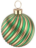 Christmas ball bauble New Years Eve green gold decoration. Christmas ball bauble New Years Eve decoration green gold sphere icon. Beautiful shiny Merry Xmas stock illustration