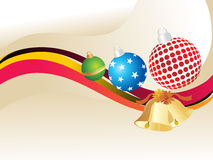 Christmas ball, bells with stripes lines Royalty Free Stock Photos