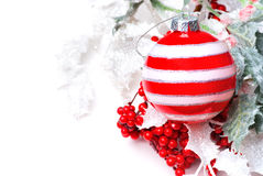 Christmas ball with berries holly. Christmas decoration with berries holly Stock Image