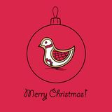 Christmas ball with bird. Vector illustration. You can use it  for design of greeting card Royalty Free Stock Image