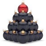 Christmas ball black pyramid leader red on top first place winning Royalty Free Stock Photography