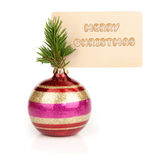 Christmas ball with blank greeting card Stock Image