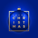Christmas Ball on Blue Background with Golden Modern Typography Greetings in a Frame. Stock Photos