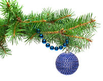 Christmas ball with blue beads on a fir-tree branc Royalty Free Stock Images