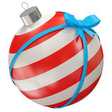 Christmas Ball with Blue Bow. 3d Image Royalty Free Stock Image