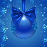 Christmas ball with a blue bow, snowflakes, Royalty Free Stock Photo