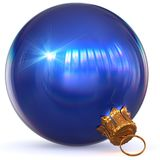 Christmas ball blue decoration sparkling. Christmas ball blue decoration Happy New Year`s Eve bauble hanging adornment traditional Merry Xmas wintertime ornament Stock Photo