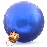 Christmas ball blue hanging decoration New Year`s Eve bauble Royalty Free Stock Photography