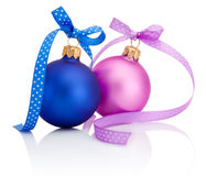 Christmas ball Blue and Pink with ribbon bow Isolated on white. Background Royalty Free Stock Image
