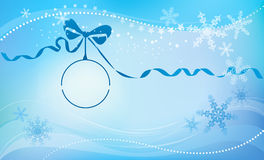 Christmas ball with a blue ribbon. Christmas ball and ribbon on winter snowflakes background. In circle of ball you can insert your logo, Christmas greeting or Royalty Free Stock Photos