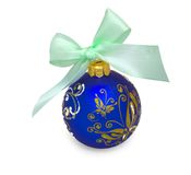 Christmas ball with blue ribbon isolated on white Royalty Free Stock Photography