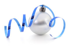 Christmas Ball & Blue Ribbon Stock Image