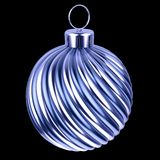 Christmas ball blue silver bauble. Merry Xmas decoration closeup vector illustration