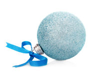 Christmas ball with a blue tape Stock Photo