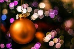 Christmas ball on bokeh royalty free stock images
