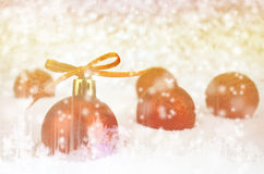 Christmas Ball with Bokeh in Merry Metal Tone. Stock Images